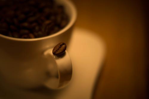 Tasse mit Bohne aus unserem Kaffeevollautomat Test