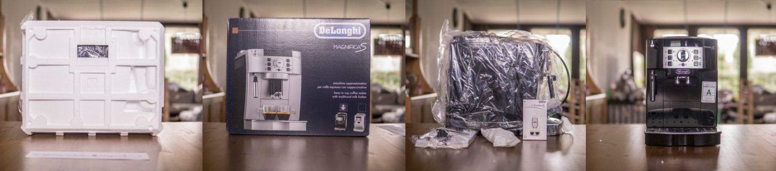 Vier Bilder vom Kaffeevollautomat wie er  ausgepackt wird.