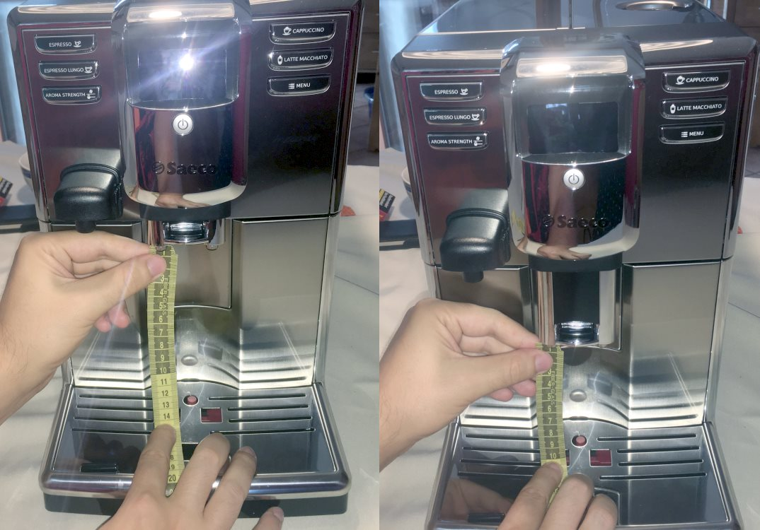 Saeco Incanto Kaffeeauslauf Höhe